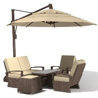 Coral coast Sunbrella sun umbrella with tilt big rattan wicker outdoor furniture set